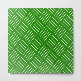 Abstract geometric pattern - green and white. Metal Print
