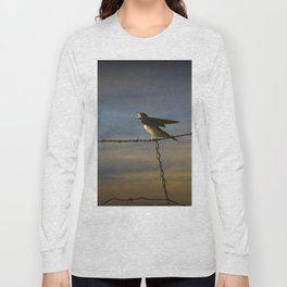 Barn Swallows on Barbwire Fence at Sunset Long Sleeve T-shirt