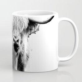 Newspaper Print Style Highland Cow. Scotland, Bull, Horns. Coffee Mug