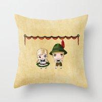 german Throw Pillows featuring German Chibis by artwaste