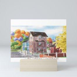The Sloane Townhouse Watercolor Village Mini Art Print