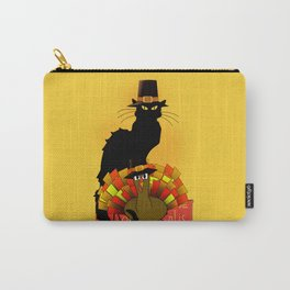Thanksgiving Le Chat Noir With Turkey Pilgrim Carry-All Pouch