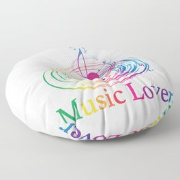 Music Theme Colorful Music Note Design Floor Pillow