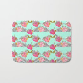 Wings and Roses Mint Green Bath Mat