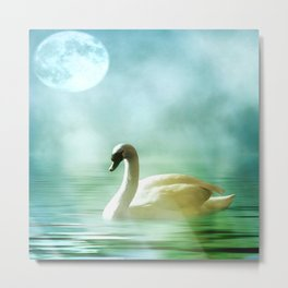 Moonlit Swan Metal Print