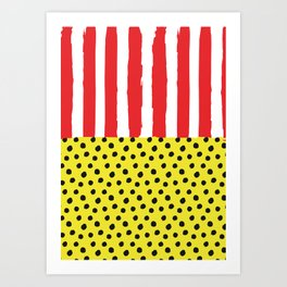 Stripes & Polka Red Yellow Art Print