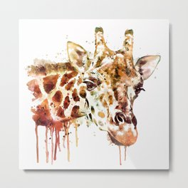 Giraffe Head Metal Print