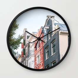 Colorful architecture in the city Amsterdam, the Netherlands || facade building canalhouse house wanderlust adventure urban || Digital travel photography art print Wall Clock