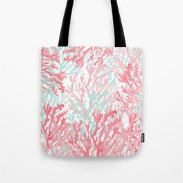 Modern hand painted coral pink teal reef coral floral Tote Bag