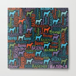 Basenji Word Art pattern Metal Print