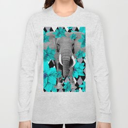 ELEPHANT and HARLEQUIN BLUE AND GRAY Long Sleeve T-shirt