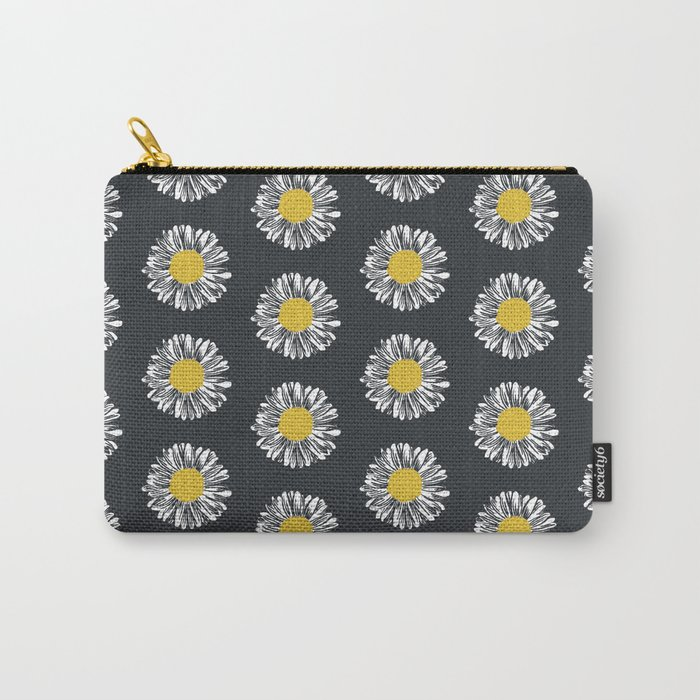 Daisy pattern basic flowers floral blossom botanical print charlotte winter dark color Carry-All Pouch