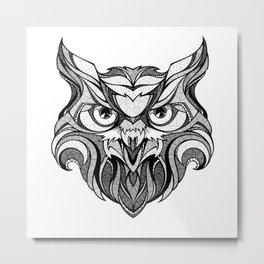 Owl - Drawing Metal Print