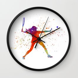 Woman tennis player 01 in watercolor Wall Clock