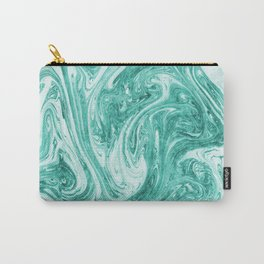 Teal Blue Suminagashi Marbling Print Carry-All Pouch