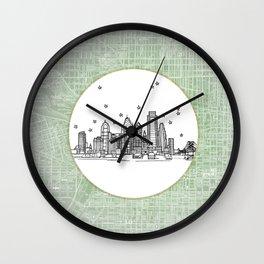 Philadelphia, Pennsylvania City Skyline Illustration Drawing Wall Clock