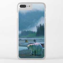 Great Spirit Bear and Misty River Clear iPhone Case