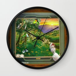 "Springtime Grazing in Napa Valley 24"" x 36"" oil over clay with illustrations of our rescued parrots Wall Clock"