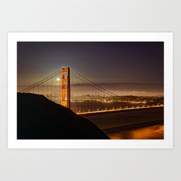 GOLDEN GATE BRIDGE & MOON PHOTO - SAN FRANCISCO NIGHT IMAGE - CALIFORNIA PICTURE - CITY PHOTOGRAPHY Art Print