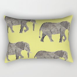 Elephant collage on yellow background Rectangular Pillow