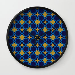 Moroccan seamless pattern, Morocco. Patchwork mosaic with traditional folk geometric ornament Wall Clock