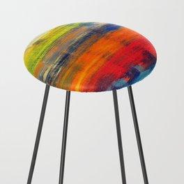 Horizon Blue Orange Red Abstract Art Counter Stool