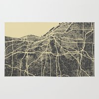 cleveland Area & Throw Rugs featuring Cleveland map by Map Map Maps