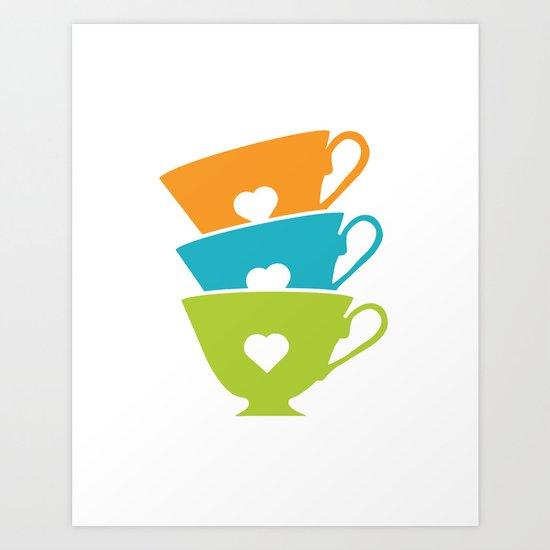 Teacups - Tea Time Art Print