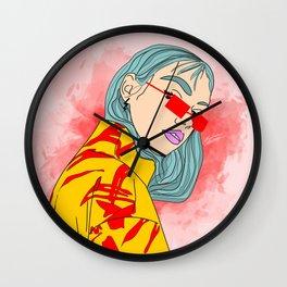 CUZ IM KOOL LIKE DAT - Asian Female with Blue Hair Digital Drawing Wall Clock