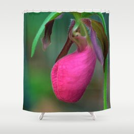 New England Wild Lady Slipper Orchid Flower Shower Curtain