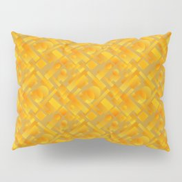 Stylish design with interlaced circles and yellow rectangles of stripes. Pillow Sham