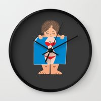 fat Wall Clocks featuring Sad Fat by truthbeware