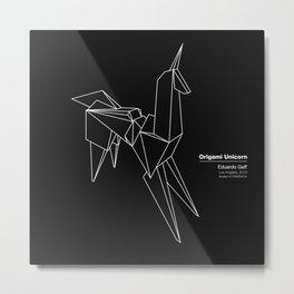 Origami Unicorn Metal Print