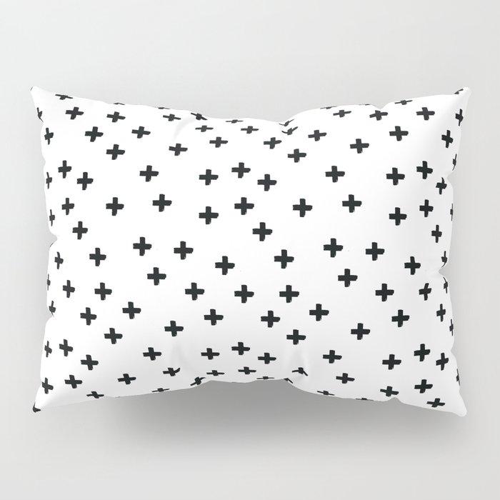 Black hand drawn pluses pattern on white Pillow Sham