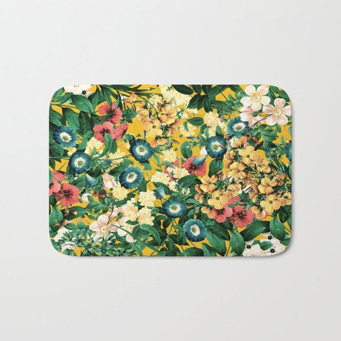 Tangerine Floral Pattern Vintage Bath Mat