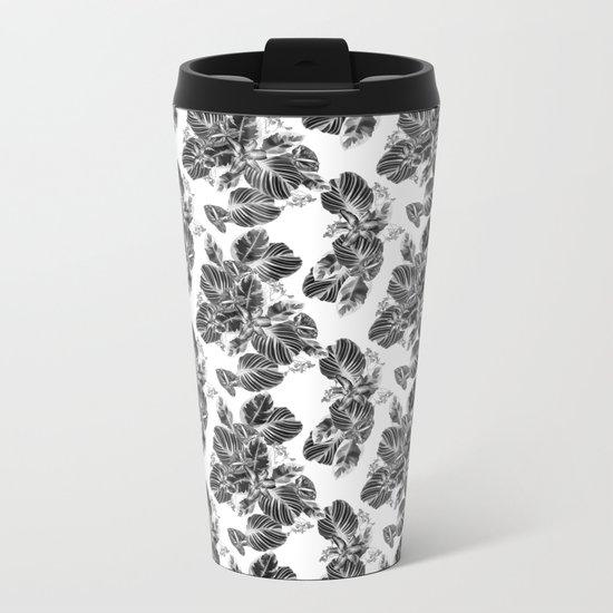 Black and white floral pattern Metal Travel Mug