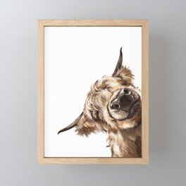 Sneaky Highland Cow Framed Mini Art Print