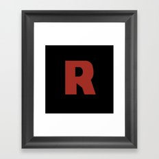 Letter R on Black Framed Art Print