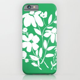 Green and White Flower Bouquet, Minimal Flowers, Simple Flower Design, Modern Daisy Flower iPhone Case