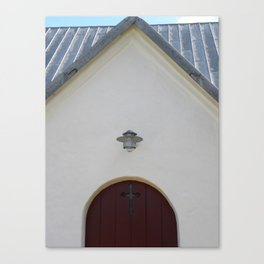 Door to the Little White Church in Denmark  Canvas Print