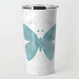 Decorative White Overlay Turquoise Marble Buttefly Travel Mug