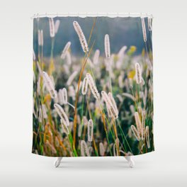 Field of Wild Weeds Morning Glow Shower Curtain