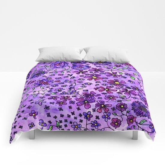 Purple Small Flowers Comforters