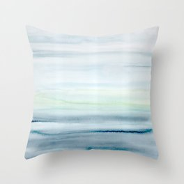 Blue Indigo Ombre Watercolor Abstract Painting  Throw Pillow