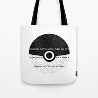 pokeball Tote Bags featuring POKEBALL - GRAPHIC by christ(y) almighty