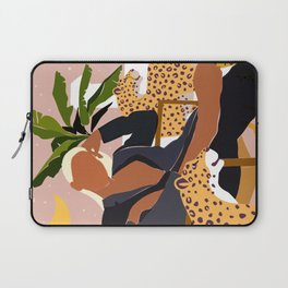 Girl Boss, Woman Empower Feminism Cheetah Illustration, Wild Cat Tiger Boho Leopard Tropical Moon Laptop Sleeve