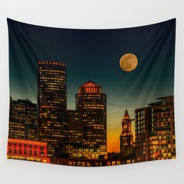 Boston Pink  Moon Wall Tapestry