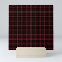 Dark Red Grid Mini Art Print