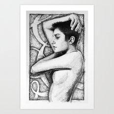 Roarie Yum Study - Ink and Watercolor Art Print