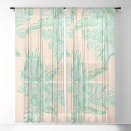 Tropical Monstera Hibiscus Botanical Pattern Green Coral Peach IV Sheer Curtain